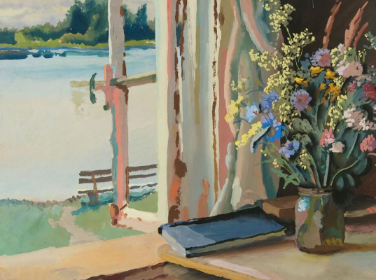 Vladimir Mikhailovich Konashevich. Bouquet at the window