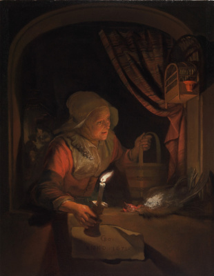 Gerrit (Gerard) Dow. The old woman in the window with a candle