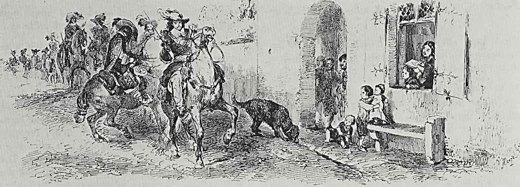 Adolf Friedrich Erdmann von Menzel. An artist's sketching from the window of his house a passing group of riders