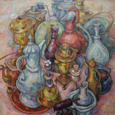 Oksana Viktorovna Zalevskaya. Large still life with Kumgans and samovars