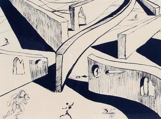 """Salvador Dali. Sketch for the cartoon """"Destino"""""""