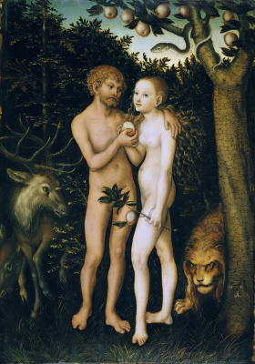 Lucas Cranach the Elder. Adam and eve in the garden of Eden