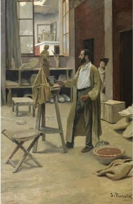 Santiago Rusignol. CLARASÓ IN HIS STUDIO