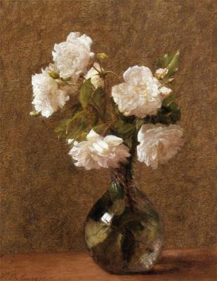 Victoria Duburg (Fantin-Latour). White roses in a vase