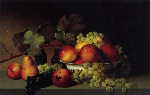 Настюрморт с яблоками, виноградом и грушами