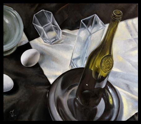 Olga Ray. Still life Bottle, glass vase and