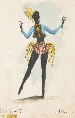 """Доротея Таннинг. Шут. Дизайн костюма для балета """"Ночная тень"""""""