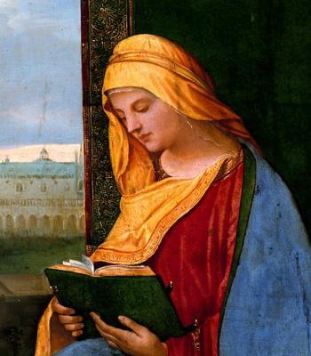 Giorgione. Madonna with a book. Fragment
