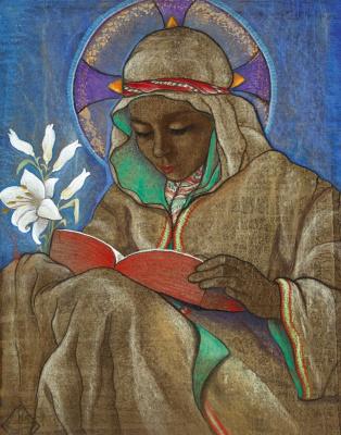 Шарль Клосс Олсоме. Читающая святая.   цветные карандаши