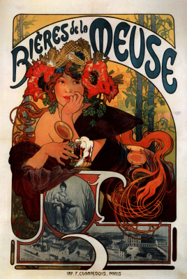 "Alphonse Mucha. Poster ""Beer of the Meuse"""