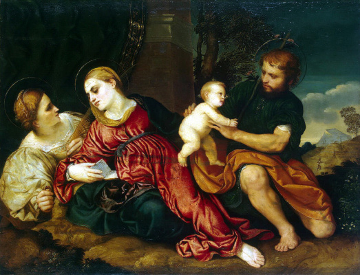Paris Bordone. Holy Family with St. Catherine