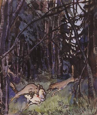 """Напали на козлика серые волки. Иллюстрация к """"Сказке о сереньком козлике"""""""