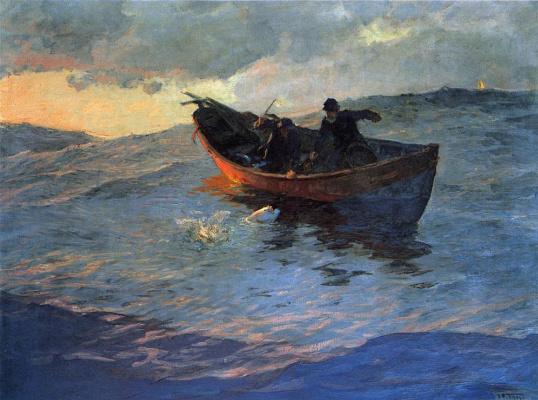 Эдвард Генри Поттаст. Лодка в море