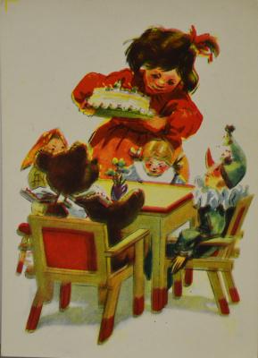Коллекционные  открытки. День рождения куклы