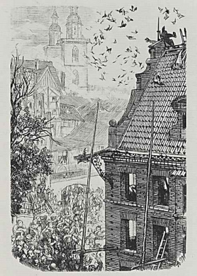 """Adolf Friedrich Erdmann von Menzel. Illustration for the essay Berthold Auerbach """"the Mechanic from Wittenberg""""[10], To the horror of the audience Locksmith falls from the roof"""