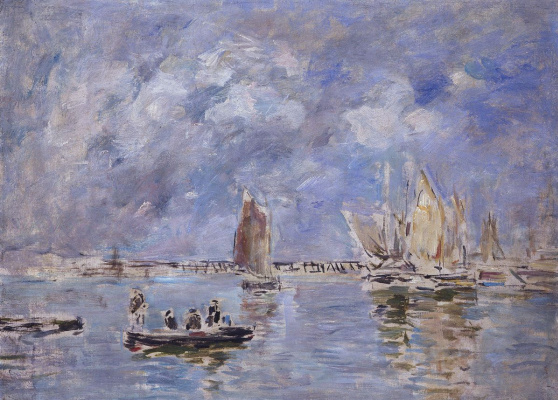 Eugene Boudin. Boats and pier