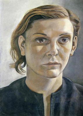 Люсьен Фрейд. Девушка в темном платье