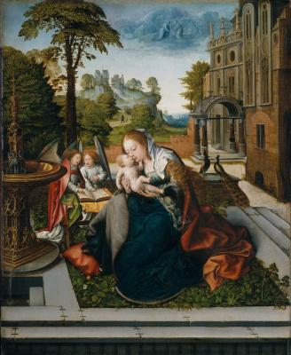 Bernart Van Orley. The virgin and child with angels