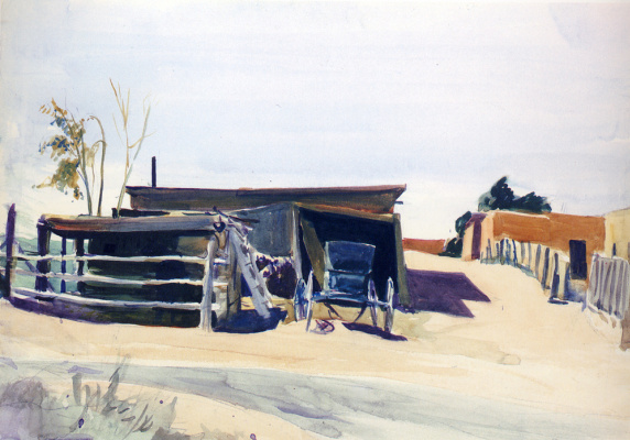 Edward Hopper. Adobe house and barn, new Mexico