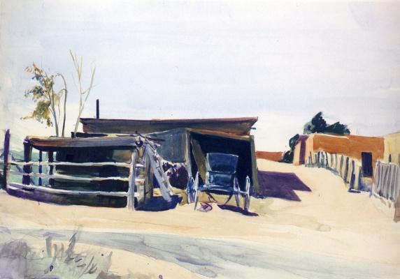 Edward Hopper. Adobe house and barn, new Mexico