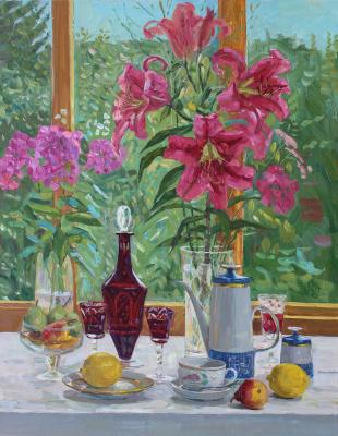 Eugene Alexandrovich Kazantsev. Still life Lilies, red decanter, lemons.