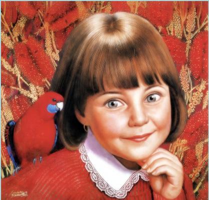 Ван Кунд. Девочка с попугаем на плече