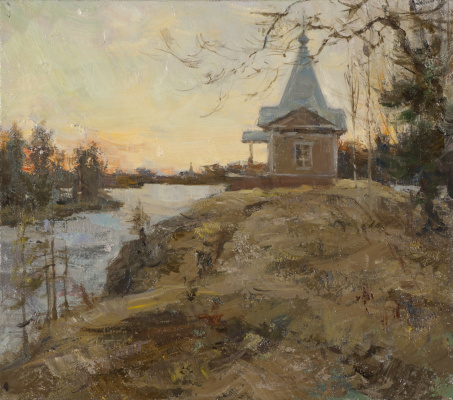 Alexander Evgenievich Kosnichev. Sunset. At the intercession of the chapel