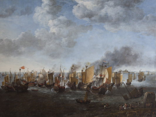 Симон де Влигер. Сражение между голландскими кораблями и китайскими пиратами 9 февраля 1630 года