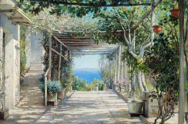 Alexander Pavlovich Bryullov. Veranda. Algeria. 1882 Study