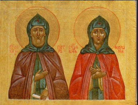 Светлана Фатьянова. Icon on the board of Saint Peter and Fevronia of Murom