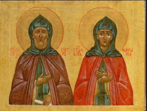 Светлана Фатьянова. Икона на доске свв.Петра и Февронии Муромских