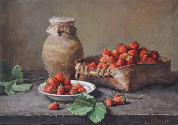 Yuri Viktorovich Kudrin. Still life with strawberries. 1983