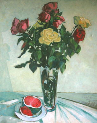Александр Беляков. Натюрморт с розами и арбузом
