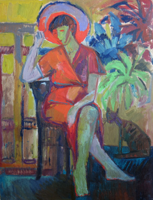 "Ekaterina Konstantinovna Krestyaninova. The girl in the red hat. (On the back of the picture: ""Two Nudes."""