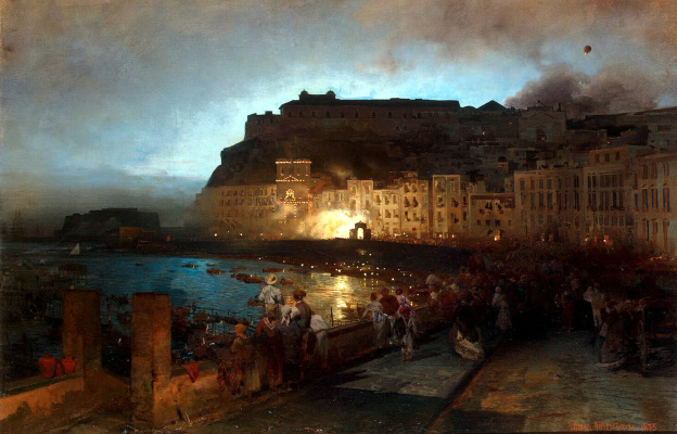 Oswald Achenbach. Fireworks in Naples