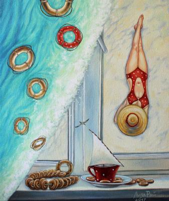 Lisa Ray. Tea with dryers and sea views