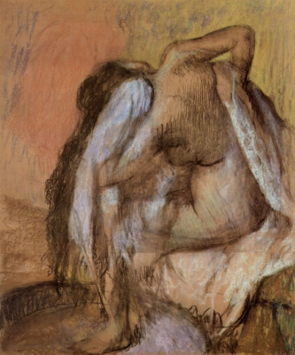 Edgar Degas. Seated Nude, wiping the neck and back
