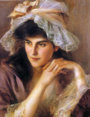 Albert Lynch 1851-1912 Peruvian artist. Portrait of a young woman.