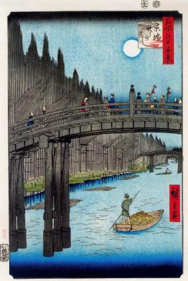"Utagawa Hiroshige. Bamboo garden bridge Cubase. The series ""100 famous views of Edo"""