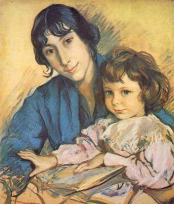 Зинаида Евгеньевна Серебрякова. Портрет Ати с Татаном