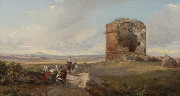 Эдвард Лир. Travelers on the road at the tomb of Cecilia Mitella