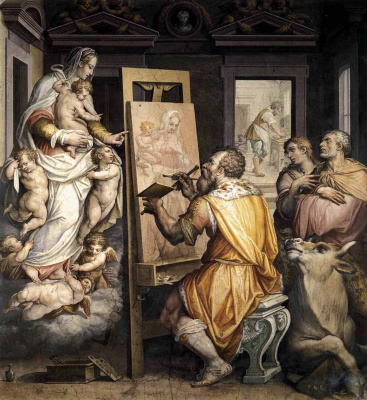 Giorgio Vasari. Saint Luke paints a portrait of the virgin