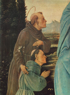 Filippino Lippi. Madonna with child, St Anthony of Padua and the monk