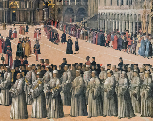 Gentile Bellini. The procession of the relics of the Holy Cross in St. Mark's Square. Fragment