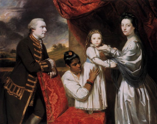 Joshua Reynolds. Portrait of George Clive's family with an Indian maid