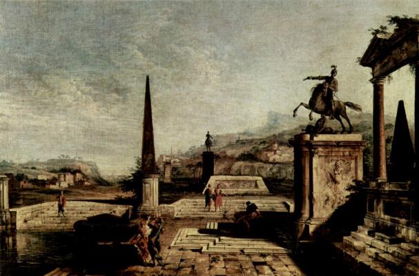Микеле Мариески. Пейзаж с обелиском
