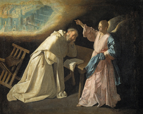 "Francisco de Zurbaran. The series of paintings ""scenes from the life of St. Pedro Nolasco"". The Vision Of The Heavenly Jerusalem"