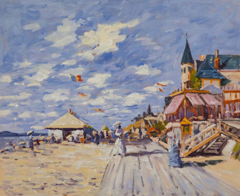 Savely Kamsky. A copy of the Promenade on the beach in Trouville, 1870 (The Boardwalk on the Beach at Trouville 1870)