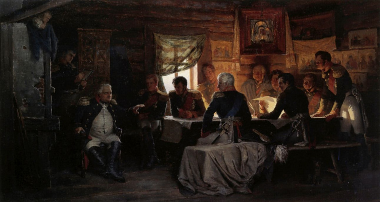 Alexey Danilovich Kivshenko. A Council of war in Fili in 1812