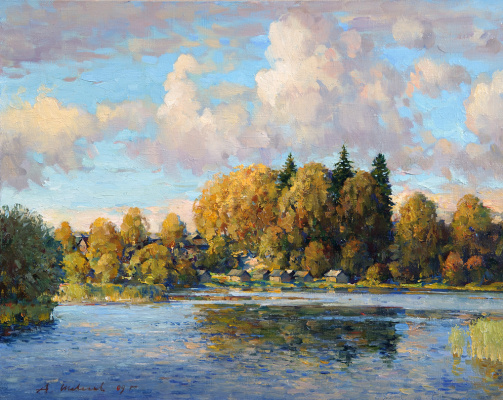 Alexander Victorovich Shevelyov. Kamenka,evening.Oil on canvas 40 # 50 cm 2006
